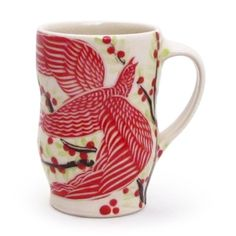 Shop: Bird Mug - The Clay Studio #red #folk #ceramics #porcelain #bird #product #mug