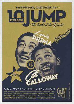 #poster #vintage #retro #lindyhop #cabcalloway #louisprima #jazz #micheletenaglia