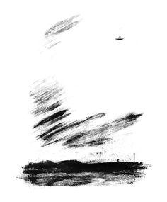 Monotype - I saw an UFO, David Rosel #illustration #UFO #b&w