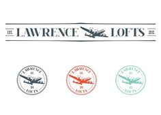 Lawrence Lofts - Portfolio #stamp #red #airplane #turquoise #lofts #vintage #logo #blue