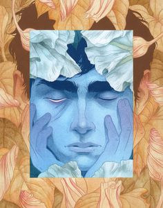 "Julian Callos Illustration (""Night-Blooming"" Acrylic and gouache on Rives BFK...) #illustration #night #bloom #flowers #face #blue #desi"