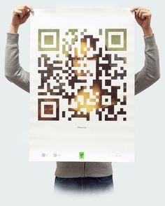 Плакат «Мона Лиза» из проекта «QRtina» | Студия Psyho #qr #mona #code #poster #lisa