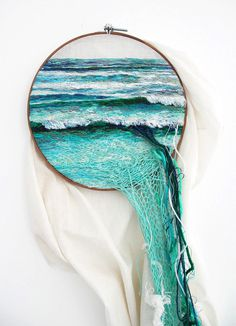 embroidedy, landscape, sea