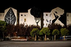 Alberto de Pedro #mural #tree #leaf #art #street #shadow