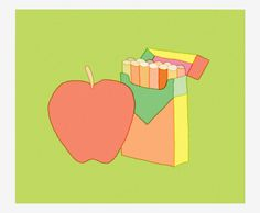 Joy Opposites - Trademark™ #green #illustration #apple #ziggy