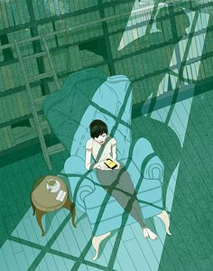 Editorial Illustrations by Marcos Chin | Inspiration Grid | Design Inspiration #blue #illustration #green