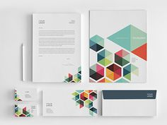 Business Colorful Stationery #modern #design #geometric #colorful #minimal #stationery #template