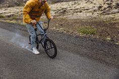 Mathias Dandois burning the rubber off his shoes due to speed and the flowing lava under the road.
