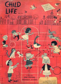 Vintage, children's book, red, kids, playground, cover