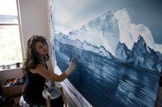 Pastel Icebergs by Zaria Forman – Fubiz™ #painting #sea #art