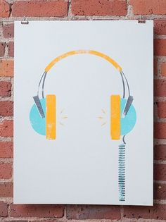 Headphones by johnnyandstacie on Etsy #illustration #headphones