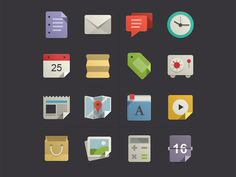 Flat icons with color