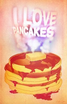I Love Pancakes Stretched Canvas by Elizabeth Cakovan | Society6 #butter #pancakes #breakfast #food #texture #illustration #love
