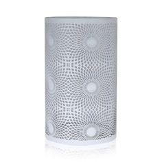 Jans White Metal Swirl Hurricane Candle Holder, 25 cm