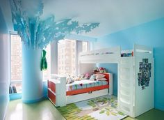 White and blue artistic modern kids room #interior #painting #art #kids #apartment #room