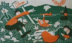Flight+-+English+picnic.jpg 1,000×607 pixels #print #arts #illustration #linocut #fine