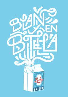 Blanco y en botella by Jorge Lawerta #typography #illustration