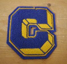 "Vintage 1960s Chenille Wool Varsity ""C"" Block Letter Letterman Patch Blue & Gold"