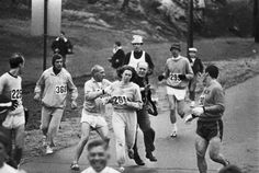 In 1967, Kathrine Switzer was the first woman to run the Boston marathon; http://off-the-wall-b.tumblr.com