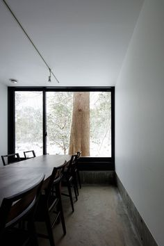 Dining room with forest view. Plate by TakuyaHosokai. © Naomichi Sode. #diningroom #window #contemporary