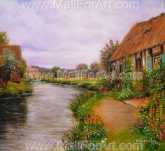 House by the river painting landscape for kitchen