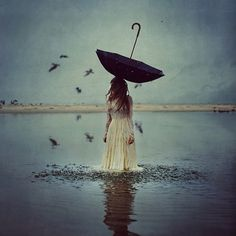 the world above #umbrella #girl #photo #picture #world #the #sadness #above #river