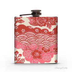 Pink and Red Japanese Yuzen Floral    6oz Hip Flask