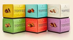 Mrs. Weinstein's Toffee Boxes Stacked #packaging #candy #design