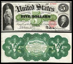 United States 1862 $5 Legal Tender Note #currency #ephemera