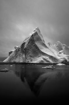 CJWHO ™ (White Ice on Black by Jan Erik Waider A...) #photography #ocean #landscape #black and white #glacier #greenland