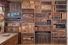Cafe Cartolina: Suitcases #shelving #suit cases