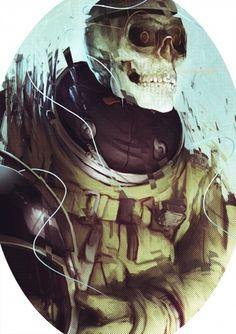 painting171.jpg (1391×1969) #astronaut #skull