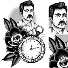 Tattoo Design© 2012 Tom Gilmour #illustration #tattoo #moustache