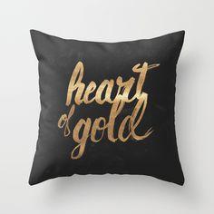 Heart of Gold - throw pillow #heart #lettering #of #golden #gold