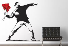 Banksy Throwing Flowers Wall Sticker