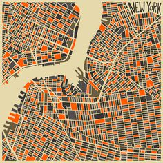 NEW YORK Map Illustration #design #abstract #maps #newyork #obsessed