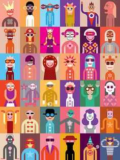Large group of people. Art composition of abstract portraits #alien #image #illustration #artist #character #fantastic #abstract #carnival #festival #color #costume #composition #tile #man #face #wallpaper #suit #party #collection #code #vector #theater #woman #various #mob #person #fancy #people #portrait #art #dress #funny #avatar