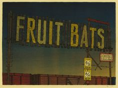 Fruit Bats Landland #bats #land #fruit #illustration #poster