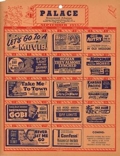 All sizes | Palace Theatre Schedule Greenwood, AR | Flickr - Photo Sharing! #cinema #poster