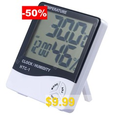 Large #Screen #Household #Electronic #Thermometer #and #Hygrometer #with #Alarm #Clock #- #MILK #WHITE