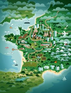 KTRON Maps - Society6 #design #graphic #landscape #digital #illustration #poster