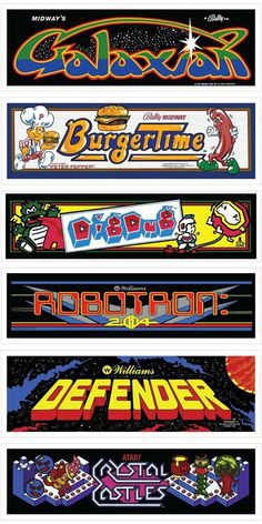 Classic Arcade Marquees Wall Art 6 Packs by Mancade on Etsy