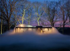 fujiko nakaya wraps the glass house in a veil of dense fog #fog