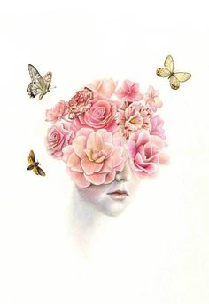 Dan Des Eynon #illustration #flowers #butterfly #portrait #art #design #perfume #pink #petals #head