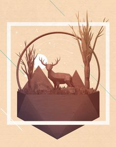 August Wallpaper on Behance #lowpoly #low poly #c4d #cinema4d #maxon #3d #illustration #deer #animal #digital art #digital