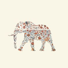 R E N O V A T I O #pattern #floral #elephant #illustration #silhouette #flowers