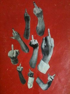 JJJJound #red #collage #drawing #hands #the finger #middle finger #fuck off