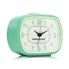 London Clock Company 'GEO' Alarm Clock, Duck Egg 8.5cm x 10.5cm x 5.5cm