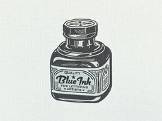 Blue ink ... #ink #bottle #black #illustration #gray