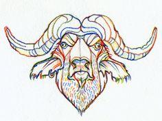 Buffalo by Katrin Luppo #illustration